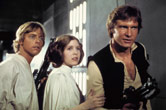Star Wars: Episode IV - A New Hope: Mark Hamill, Carrie Fisher, Harrison Ford. Credits: Lucas Film.